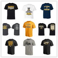 Wholesale sports t shirts purple resale online - Men s Pittsburgh Penguins Brand T shirts Sport jersey Black Gray Yellow Cool Hockey Jerseys mens Fans Tees shirts Cheap price printed Logos