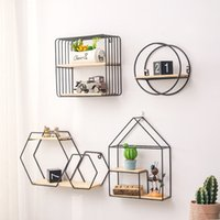 Wholesale Best Wooden Gold Storage Racks Hanging Decor Storage Box Flower Pot House Storage Rack Wall Book Figurines Display Craft Shelves