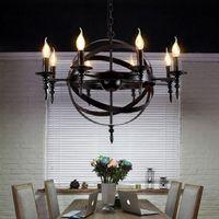Wholesale loft style chandeliers for sale - Group buy E14 American style retro loft chandelier bar restaurant Hot pot shop Coffee Iron Chandelier led Lamp heads