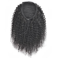 Wholesale drawstring hair ponytails online - Afro Puff Drawstring Ponytail for Black Women Curly Hair Ponytail Extension Black Brown Afro Bun Ponytail Clip on Hair Extensions Remy g