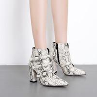 botas de motocicleta leopardo venda por atacado-Sapatos Mulher Ankle Boots Zip Cavaleiro Botas de Salto Alto Sapatos de Salto Cobra Imprime Motocicleta Boot Leopard Outono Zapatos De Mujer