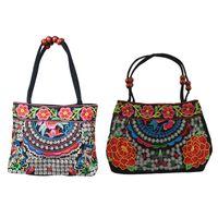 bolsa de estilo étnico chinês venda por atacado-2 pcs estilo chinês Mulheres Handbag Bordado Verão Moda Étnica Handmade Flores Ladies Tote Shoulder Bags Cross-corpo, manteiga