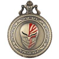 modelos de relógio feminino venda por atacado-Steampunk Máscara Design de Quartzo Relógio de Bolso Legal Bronze Pingente Relógio com Fob Cadeia Colar de Jóias Presentes de Lembrança Das Mulheres Dos Homens