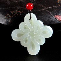 Wholesale white nephrite jade resale online - Drop Shipping Natural White Nephrite Stone Pendant Chinese Hand carved Chinese knot DIY Accessories Women Jade Jewelry