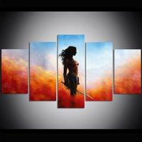 gemälde malen frauen großhandel-5 Stück Große Größe Leinwand Wandkunst Wonder Woman Ölgemälde Wandkunst Drucken Bilder für Wohnzimmer Gemälde Wanddekor
