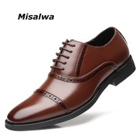 мужская обувь для мужчин оптовых-Misalwa Plus Size 38-48 Men's Formal Dress Shoes PU Leather Men Brogue Suit Shoes Italian Style Gentle Men Flats Wedding