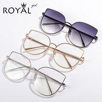 óculos transparentes de grandes dimensões venda por atacado-Atacado-ROYAL GIRL Nova marca designer Mulheres armações de óculos Retro Vintage oversized de metal Armações de óculos de lente clara ss716