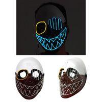 ingrosso scheletri danzanti-Maschere per feste El Wire Mask Lampeggiante Cosplay Maschera a led Scheletro Maschera a forma di testa per balli luminosi Carnevale Maschere per feste Decorazione di Halloween
