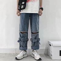 ingrosso modello jeans baggy-Pantaloni estraibili nuovi Pantaloni estivi modello classico Baggy Homme Jeans cargo blu scuro Pantaloni casuali in denim per uomo