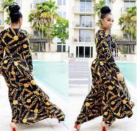 schöne kleider für frauen groihandel-Heißer Verkauf Neue Mode Design Traditionelle Afrikanische Kleidung Drucken Dashiki Nizza Hals Afrikanische Kleider für Frauen # 9014