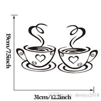Lovely Coffee Cups Cafe Tea Wall Sticker Art Vinyl Decal for Kitchen Home