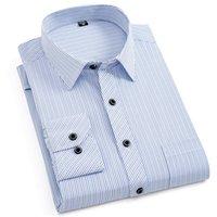 официальная одежда мужчины длинный рукав оптовых-Plus Size 5XL 6XL Men's Striped Dress Shirts Fashion Long Sleeve Formal  Social Work Wear Business Casual Shirt With Pocket
