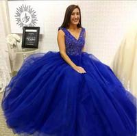 diseños de vestidos de azul real al por mayor-Royal Blue A Line Vestido de quinceañera Con cuello en v Sin mangas Con cuentas de tul Vestidos de baile con encanto Diseño simple Por encargo Moda Vestidos de noche