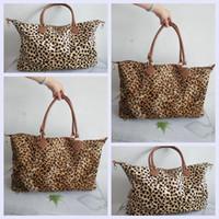 Wholesale weekender bags women resale online - Women Leopard Duffel Bag Travel Tote handbag Double Handles Sarah large capacity Outdoor Lady party Weekenders Bag LJA2409