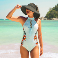 c5961810504 Summer Female Hot Sexy T Back High Neck Printed Pattern One Piece Set  Padded Bra Round Collar Swimsuits Strips Design New