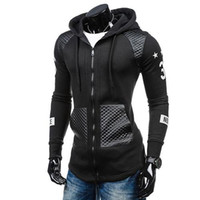 deri kollu sweatshirtler toptan satış-Erkekler Faux Deri Patchwork Baskı Uzun Kollu Hoodie Dış Giyim Coat Kazak yeni