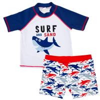 jungen säugling kleinkind stück anzüge großhandel-Kinder Kleinkind Baby Badeanzug Zweiteiler Jungen Badeanzug Kurzarm Infant Boy Beachwear Badeanzug Body 12M-6T