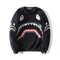 Wholesale black quality hoodie online – oversize BAPE Mens Hoodies Fashion Mens Designer Cartoon Shark Printing Hoodies Jacket Men Women High Quality Casual Sweatshirts Black