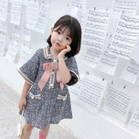 Wholesale girl pearl collar princess dress for sale - Group buy Retail baby girl dresses Luxury temperament pearl bow princess dresses for kids designer clothes girls Dress boutique clothing