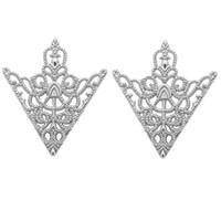 perno corona vintage al por mayor-Moda vintage triángulo camisa cuello solapa Pin para hombres y mujeres ahuecó hacia fuera corona broche esquina emblema accesorios de joyería
