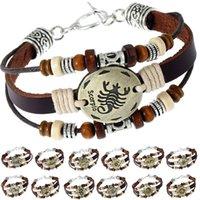 einstellbares paar armband großhandel-Kreative Vintage 12 Konstellation Perlen Armband Männer Frauen Paar Mode Gewebt Einstellbare Schmuck Zubehör Geburtstagsgeschenk