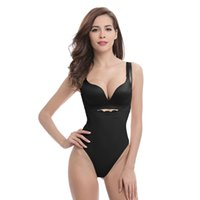 ingrosso body shaper jumpsuits-Allenatore per body shaper in vita da donna Sexy senza spalline Bustier Shapewear Body Corsetto Taglie Plus Size Pizzo Butt lifte LJJA3108