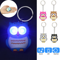 Wholesale ship keychains resale online - Cute owls LED keychains with sound glowing pendant keychais creative gifts children toy gift for lovers kawaii keyrings DHL