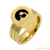 Wholesale forever rings for women for sale - Group buy 2019 Roman Forever Love brand L Titanium steel jewelry Heart Love Rings for woman wedding ring jewelry gold silver rose color