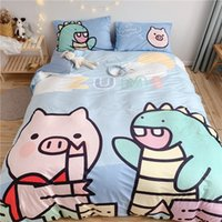 Wholesale bedding duvet children resale online - ins soft children cute cartoon Dinosaur bedding sets cotton duvet cover set