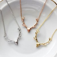 Wholesale deer pendants resale online - Hot Sale Design Deer Antler Pendant Necklace Christmas Jewelry Gift For Women
