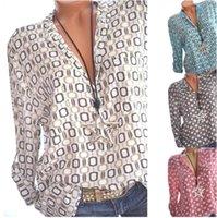 blusas largas sueltas de gasa al por mayor-Camisas de mujer Verano Otoño Casual Cuello En V Flojo Blusa de Gasa Mujeres Top Camisa Feminina de manga larga para mujer Imprimir Blusas Camisa