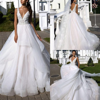 Wholesale layered wedding dresses resale online - Charming V Neck Tulle Lace A Line Wedding Dresses Top Applique Layered Ruffles Backless Sweep Train Bridal Wedding Gowns Customize