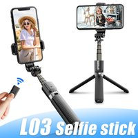 Wholesale cameras d resale online - L03 Tripod Aluminum Alloy Selfie Stick Rechargeable Foldable with Bluetooth Remote For Smartphone Camera Devices Holder Have Retail Box