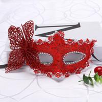 полумаска бабочка оптовых-Половина маска для Хэллоуина Маскарад Венеция Принцесса золотой розовый бабочка Маска стерео бабочка маска WL475