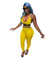 tops de yoga al por mayor-Mujeres Sexy Ver Designer 2 unids Chándales Casual Deportes Crop Tops Pantalones largos Conjuntos de ropa Vestidoes