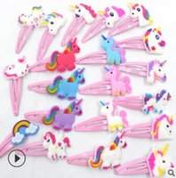 Wholesale cartoon style hair clips resale online - 500pcs DIY Simple PINK Cartoon Animals Hair BB Clips Polyethylene Baby Hairpins Hair Styling Tools Accessories HA904