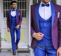 Wholesale purple tuxedo for men wedding resale online - Fashion Wedding Tuxedos Bride Wedding Suits Pieces For Men Blue and Purple Formal Blazer Groom Tuxedos Lapel Tux Jacket Pants Tie Vest