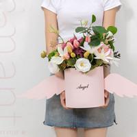 ingrosso coperchi coperti-Angel Wings Flower Arrangement Box con coperchio Fiore Secchio Fiorista Bouquet Rose Scatole Confezione regalo floreale Confezione da sposa fai da te Decor