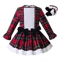 Wholesale neck bow for babies for sale - Group buy Pettigirl Newest Baby Girl Clothes For Kids Grid Layered Princess Dress Boutique Autumn Children Clothing With Black Bow G DMGD107 B393