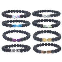 silber pfeil armband großhandel-Schwarzes Lava Rock Stein Perlen Armband mit Pfeil Charm Yoga Armband Heilung Reiki Gebet Balance Buddha Perlen Armband