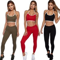 Wholesale red yoga pants for women for sale - Tracksuit for Women Sports Fitness Yoga suit Running gym Sport Crop Tops Sweatshirt Pants Sets Casual Suit Leisure Wear Vest and Pants