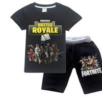 büyük pijama toptan satış-Rahat Gevşek Pijama Setleri Savaş Royale pijamas Büyük Erkek Pijama Çocuk Pijama Set Çocuk Spor Takım Elbise Üst Tees + Pantolon