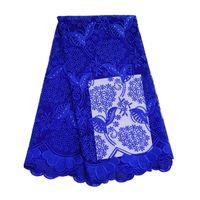 royal blue lace stoff großhandel-5 Yards königsblauer afrikanischer Spitze Stoff mit Perlen Steinen hochwertiger Tüll Stoff für Brautkleider