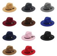 Wholesale stylish hats men resale online - Fashion TOP hats for men women Elegant fashion Solid felt Fedora Hat Band Wide Flat Brim Jazz Hats Stylish Trilby Panama Caps