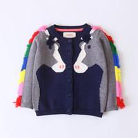 abrigo de la borla de los cabritos al por mayor-2018 Niñas Suéter Niño Niños Bebés Ropa Traje Borla Caballo Suéter de Punto Niños Cardigan Coat Tops para Ropa de niña
