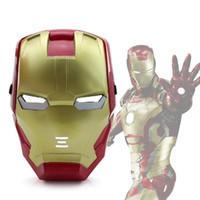 juguete de cara de hombre de hierro al por mayor-Máscara LED Mascarada de Halloween Iron Man 3 Patriot Luminous Helmet Mask Material PP Decoración de Navidad Juguete LED Glow Kid Cara Adulta