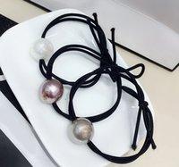 banda de goma más pequeña al por mayor-3 colores Perla pequeña de cuero tendón tocado del pelo bandas de goma mano pelo cuerda accesorios para el cabello contador regalos 10 unids / lote