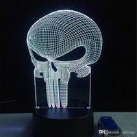 hafif ev 3d toptan satış-Yeni Diş Kafatası 3D LED USB Lamba Cadılar Bayramı Mood Renkli Korkan Tema Perili Ev Dekor Gece Işığı Sahne Aydınlatma