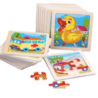 ingrosso giocattoli di anatra di legno-20 Style Baby Kids 3D Puzzle in legno Giocattoli Puzzle per bambini Cartone animato Animale anatra Coniglio Traffic Puzzle Giocattolo educativo precoce B