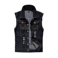 New Fashion Men Ripped Vest Sleeveless Jacket Cotton Waistcoat Casual Slimming Jeans Denim Vest Plus Size S 6XL Black